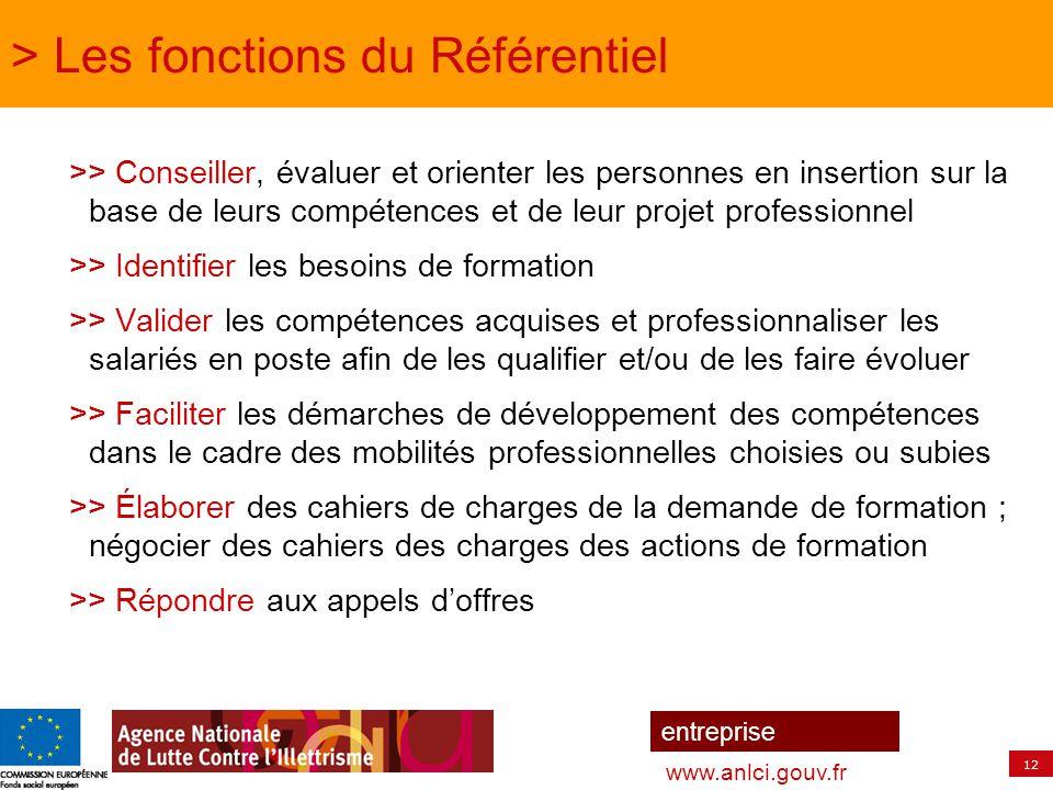 12 entreprise www.anlci.gouv.fr >> Conseiller, évaluer et orienter les personnes en insertion sur la base de leurs compétences et de leur projet profe