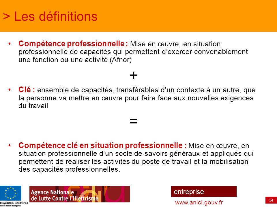 14 entreprise www.anlci.gouv.fr > Les définitions Compétence professionnelle : Mise en œuvre, en situation professionnelle de capacités qui permettent