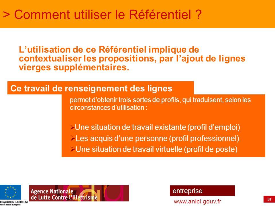 19 entreprise www.anlci.gouv.fr > Comment utiliser le Référentiel ? L'utilisation de ce Référentiel implique de contextualiser les propositions, par l