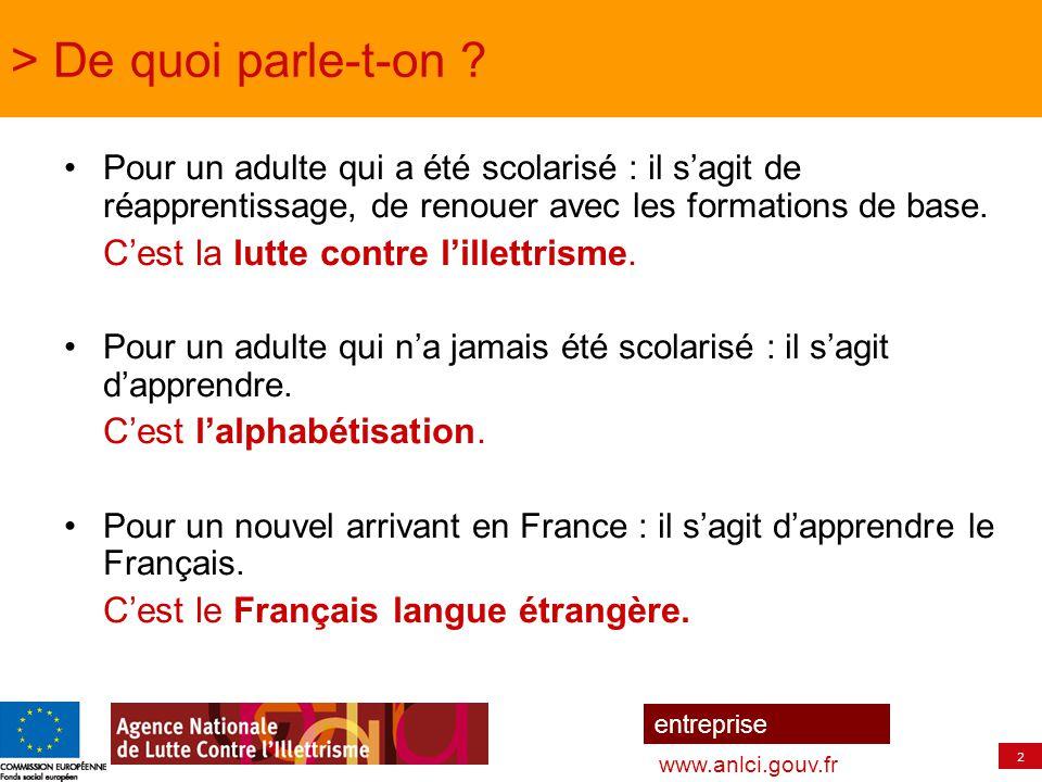 2 entreprise www.anlci.gouv.fr > De quoi parle-t-on ? Pour un adulte qui a été scolarisé : il s'agit de réapprentissage, de renouer avec les formation