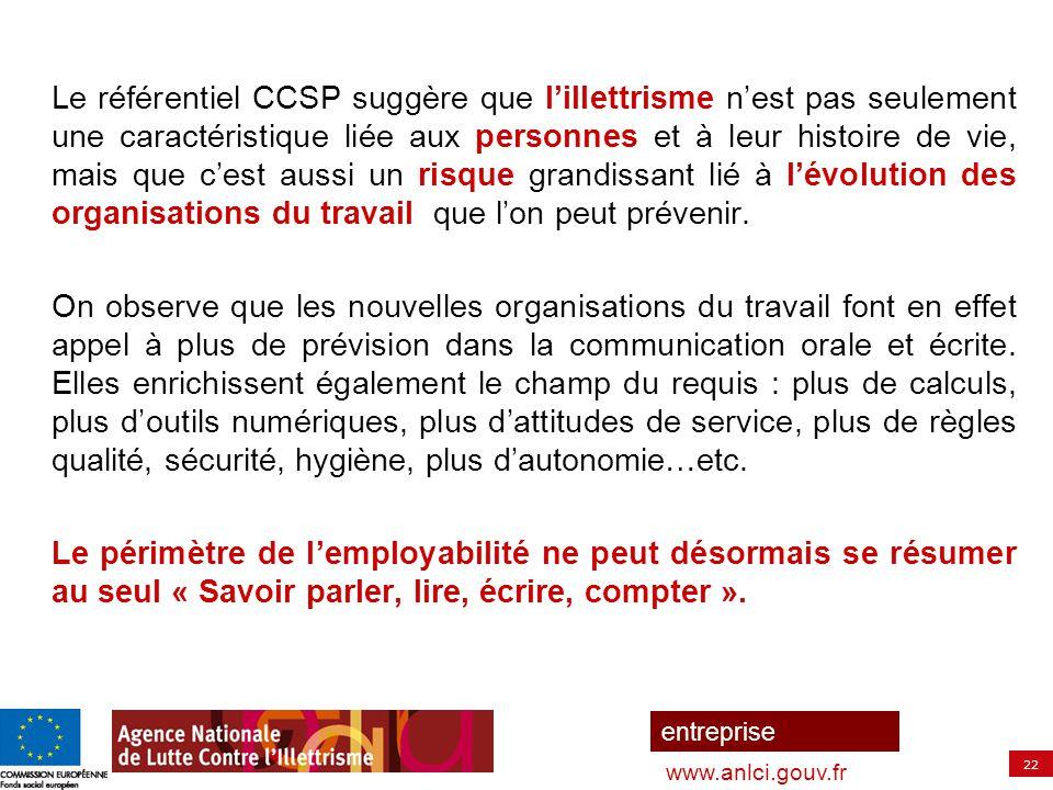 22 entreprise www.anlci.gouv.fr Le référentiel CCSP suggère que l'illettrisme n'est pas seulement une caractéristique liée aux personnes et à leur his