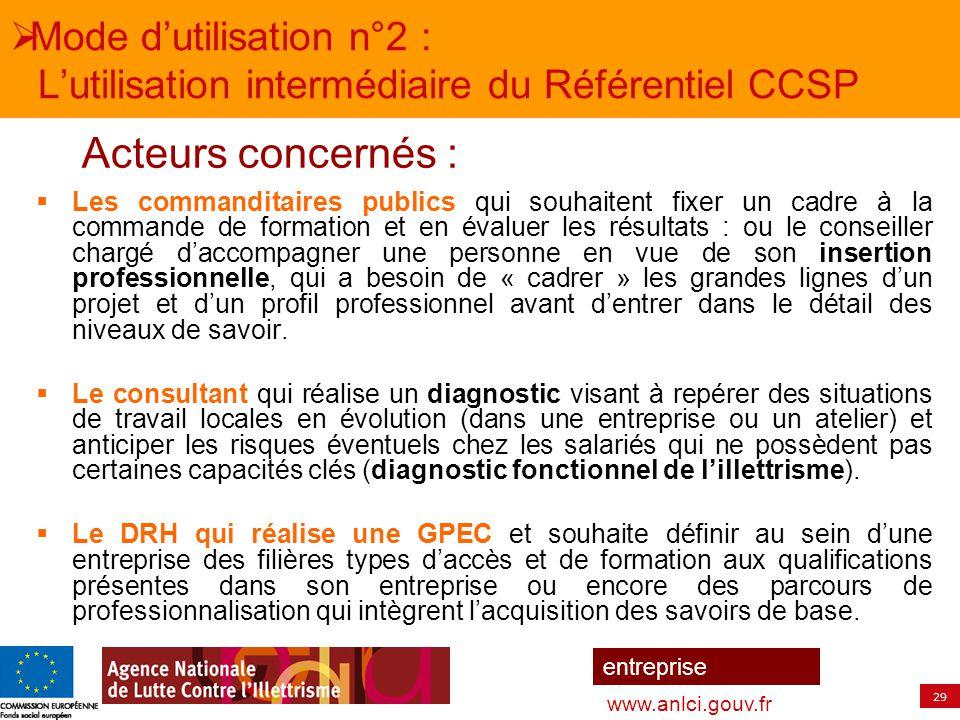 29 entreprise www.anlci.gouv.fr  Mode d'utilisation n°2 : L'utilisation intermédiaire du Référentiel CCSP  Les commanditaires publics qui souhaitent