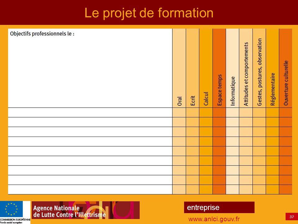 37 entreprise www.anlci.gouv.fr Le projet de formation