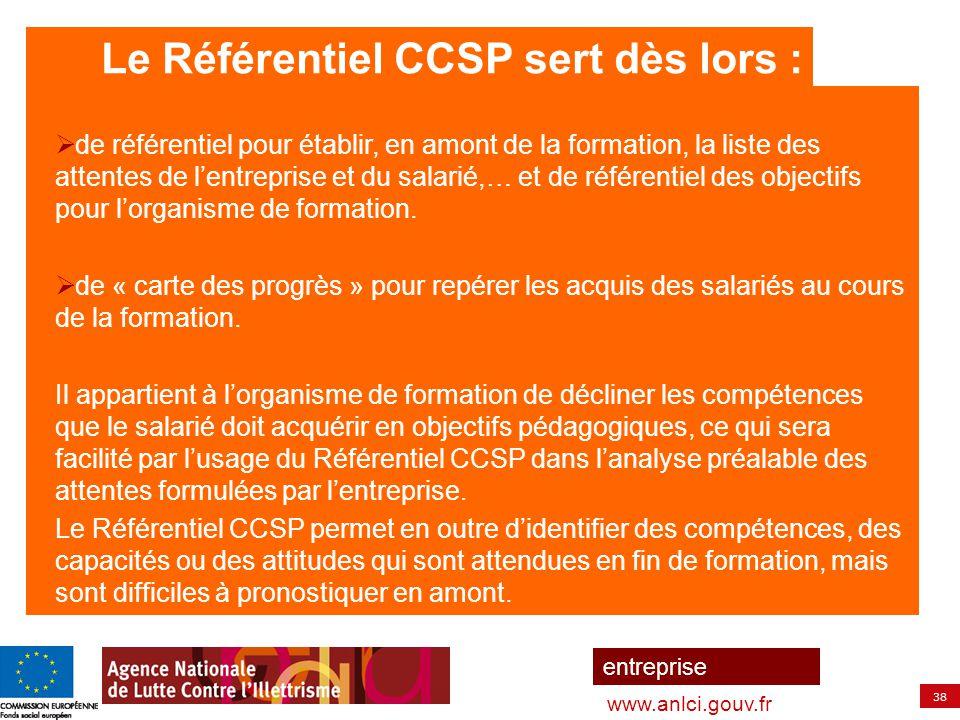 38 entreprise www.anlci.gouv.fr  de référentiel pour établir, en amont de la formation, la liste des attentes de l'entreprise et du salarié,… et de r