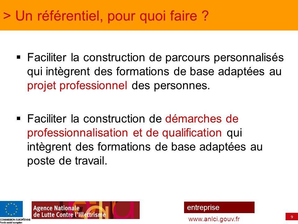 9 entreprise www.anlci.gouv.fr > Un référentiel, pour quoi faire ?  Faciliter la construction de parcours personnalisés qui intègrent des formations