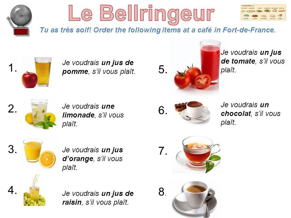 Tu as très soif! Order the following items at a café in Fort-de-France. 1. 2. 3. 4. 5. 6. 7. 8. Je voudrais un jus de pomme, s'il vous plaît. Je voudr