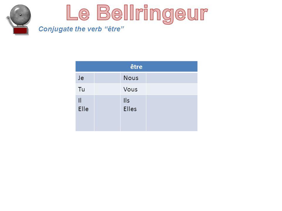 Conjugate the verb être être JeNous TuVous Il Elle Ils Elles