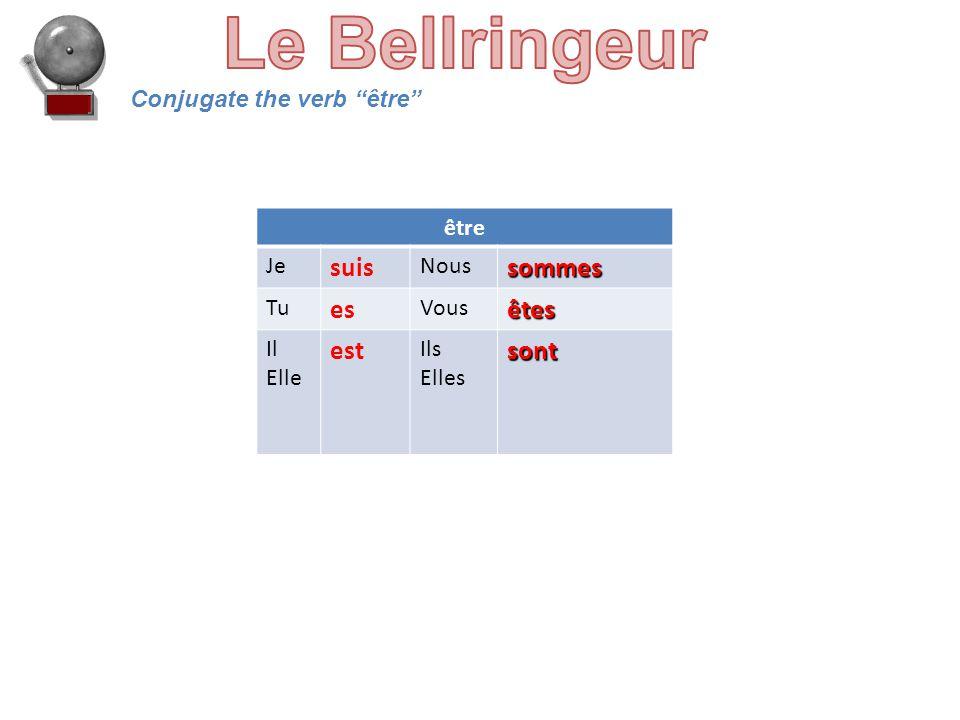 Conjugate the verb être être Je suis Noussommes Tu es Vousêtes Il Elle est Ils Ellessont