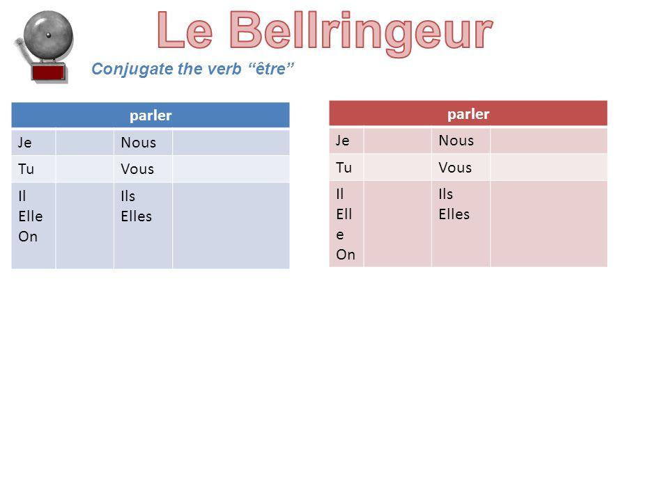 Conjugate the verb être parler JeNous TuVous Il Elle On Ils Elles parler JeNous TuVous Il Ell e On Ils Elles