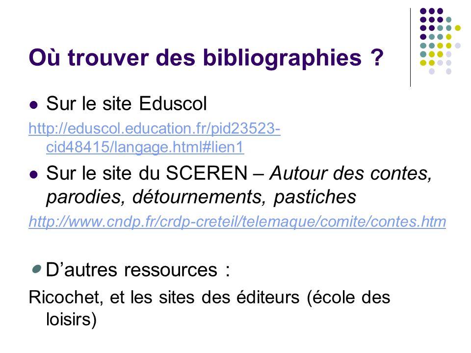 Où trouver des bibliographies ? Sur le site Eduscol http://eduscol.education.fr/pid23523- cid48415/langage.html#lien1 Sur le site du SCEREN – Autour d
