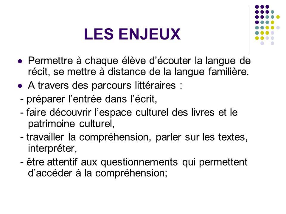 LES ENJEUX Permettre à chaque élève d'écouter la langue de récit, se mettre à distance de la langue familière. A travers des parcours littéraires : -