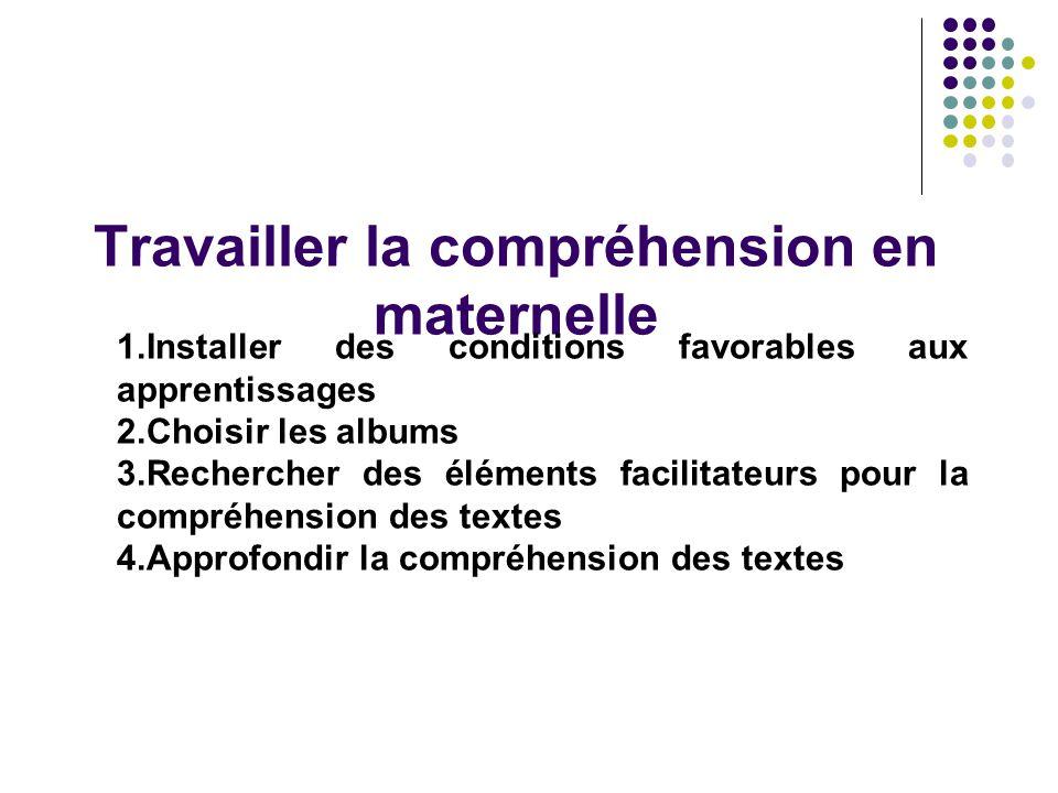 Travailler la compréhension en maternelle 1.Installer des conditions favorables aux apprentissages 2.Choisir les albums 3.Rechercher des éléments faci