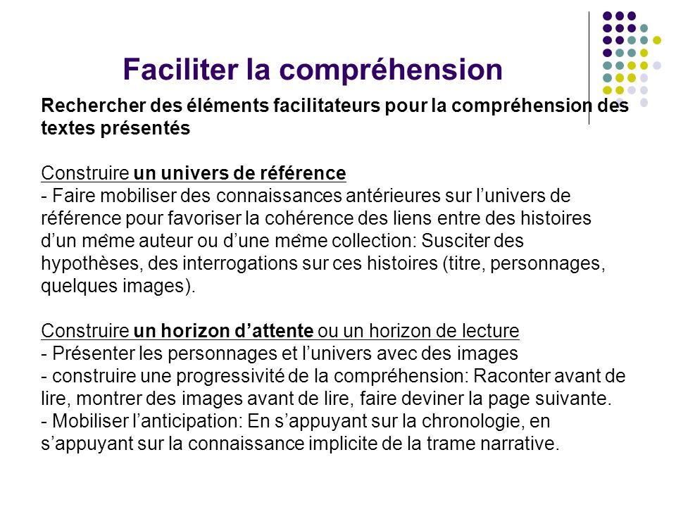 Faciliter la compréhension Rechercher des éléments facilitateurs pour la compréhension des textes présentés Construire un univers de référence
