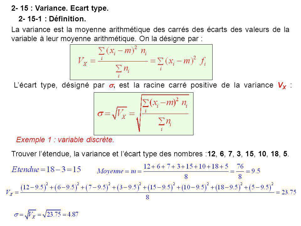 2- 15 : Variance. Ecart type. La variance est la moyenne arithmétique des carrés des écarts des valeurs de la variable à leur moyenne arithmétique. On