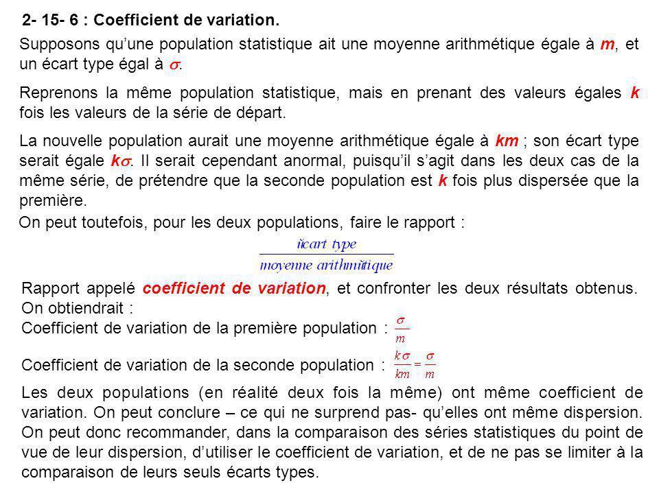2- 15- 6 : Coefficient de variation. Rapport appelé coefficient de variation, et confronter les deux résultats obtenus. On obtiendrait : Coefficient d