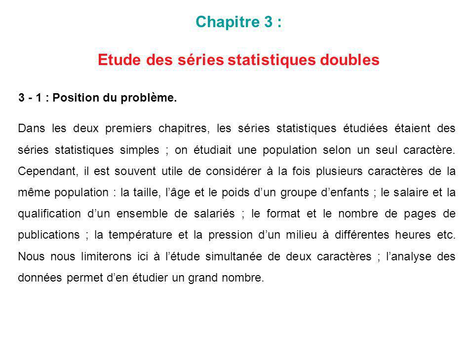Chapitre 3 : Etude des séries statistiques doubles 3 - 1 : Position du problème. Dans les deux premiers chapitres, les séries statistiques étudiées ét