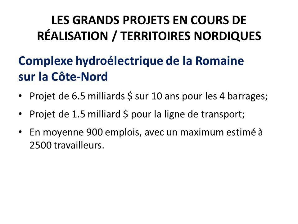 LES GRANDS PROJETS EN COURS DE RÉALISATION / TERRITOIRES NORDIQUES Complexe hydroélectrique de la Romaine sur la Côte-Nord Projet de 6.5 milliards $ sur 10 ans pour les 4 barrages; Projet de 1.5 milliard $ pour la ligne de transport; En moyenne 900 emplois, avec un maximum estimé à 2500 travailleurs.