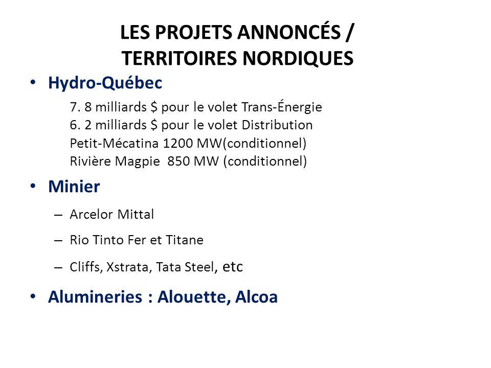 LES PROJETS ANNONCÉS / TERRITOIRES NORDIQUES Hydro-Québec – 7.