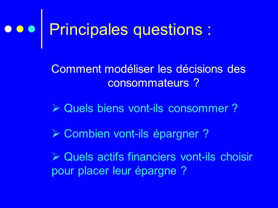 Principales questions : Comment modéliser les décisions des consommateurs ?  Quels biens vont-ils consommer ?  Combien vont-ils épargner ?  Quels a