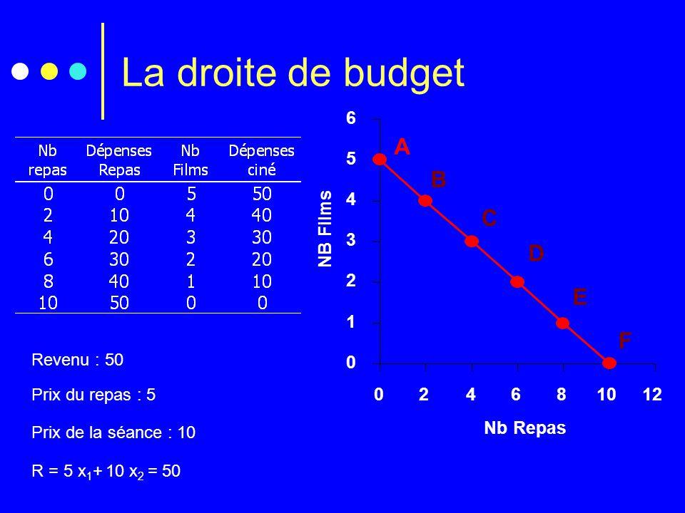 La droite de budget Prix du repas 50 F Prix du film 100 F 0 1 2 3 4 5 6 024681012 Nb Repas NB Films Prix de la séance : 10 Prix du repas : 5 R = 5 x 1
