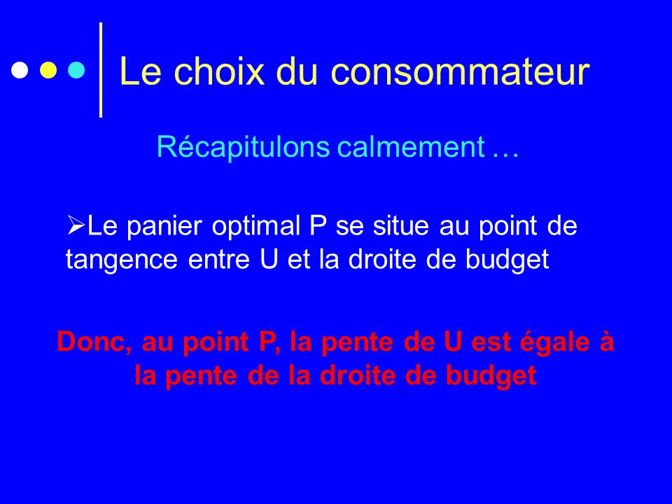 Le choix du consommateur Récapitulons calmement …  Le panier optimal P se situe au point de tangence entre U et la droite de budget Donc, au point P,