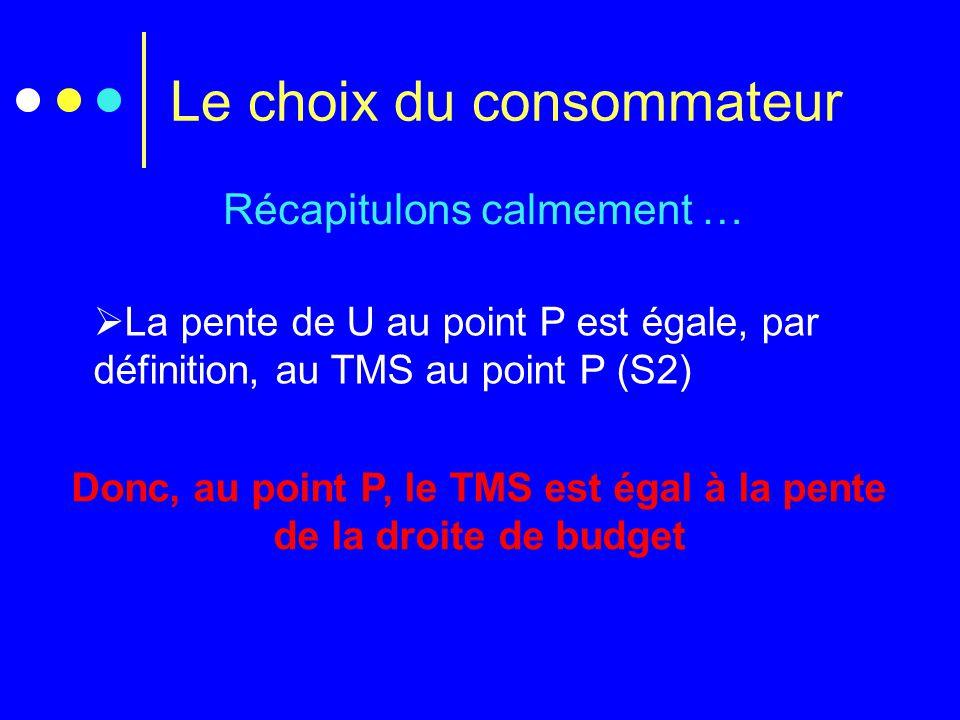Le choix du consommateur Récapitulons calmement …  La pente de U au point P est égale, par définition, au TMS au point P (S2) Donc, au point P, le TM