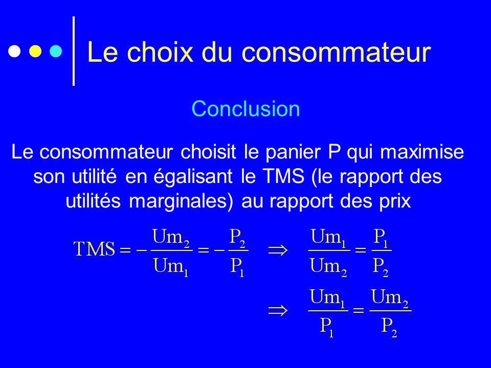 Le choix du consommateur Conclusion Le consommateur choisit le panier P qui maximise son utilité en égalisant le TMS (le rapport des utilités marginal
