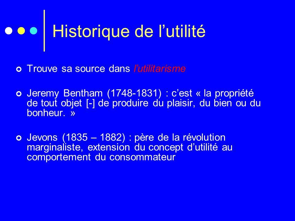 Historique de l'utilité Trouve sa source dans l'utilitarisme Jeremy Bentham (1748-1831) : c'est « la propriété de tout objet [-] de produire du plaisi