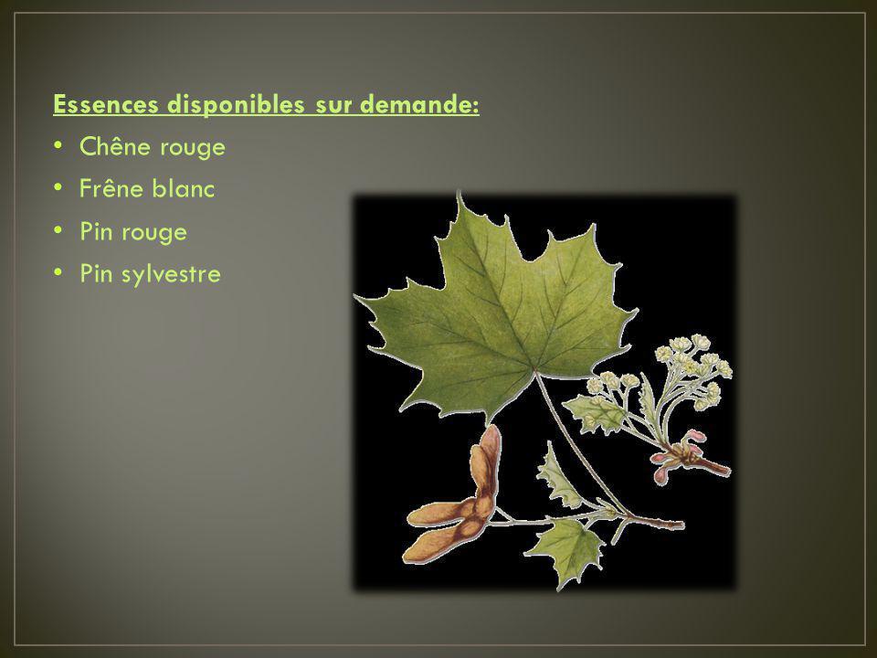 Essences disponibles sur demande: Chêne rouge Frêne blanc Pin rouge Pin sylvestre
