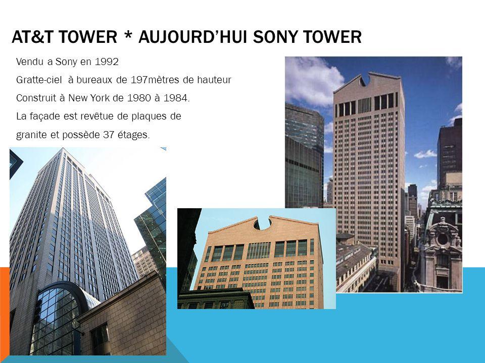 AT&T TOWER * AUJOURD'HUI SONY TOWER Vendu a Sony en 1992 Gratte-ciel à bureaux de 197mètres de hauteur Construit à New York de 1980 à 1984. La façade