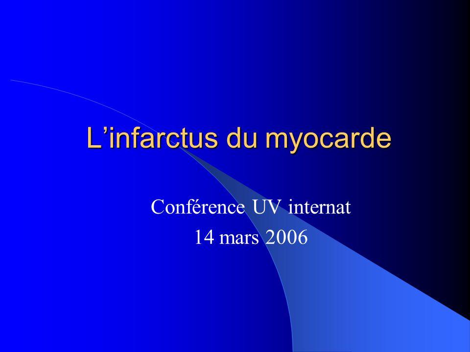 Définition L infarctus du myocarde (IDM) est une nécrose ischémique du myocarde dont l étendue dépasse 2 cm2.