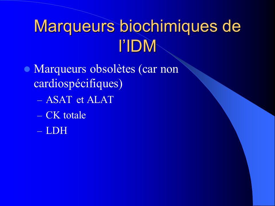 Marqueurs biochimiques de l'IDM Marqueurs obsolètes (car non cardiospécifiques) – ASAT et ALAT – CK totale – LDH