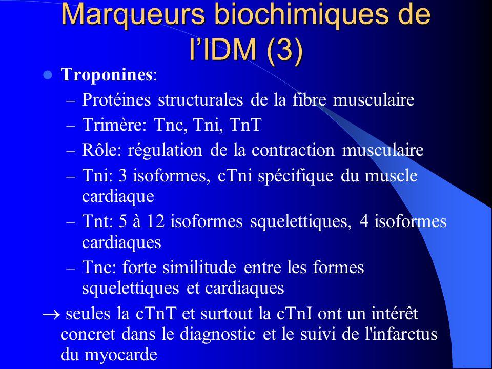 Marqueurs biochimiques de l'IDM (3) Troponines: – Protéines structurales de la fibre musculaire – Trimère: Tnc, Tni, TnT – Rôle: régulation de la cont