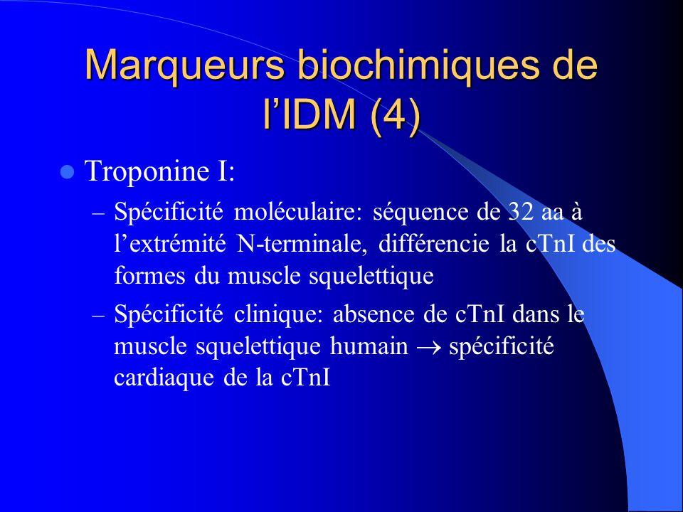 Marqueurs biochimiques de l'IDM (4) Troponine I: – Spécificité moléculaire: séquence de 32 aa à l'extrémité N-terminale, différencie la cTnI des forme