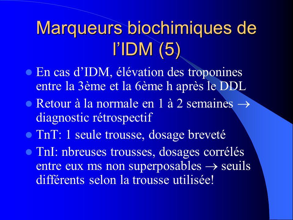 Marqueurs biochimiques de l'IDM (5) En cas d'IDM, élévation des troponines entre la 3ème et la 6ème h après le DDL Retour à la normale en 1 à 2 semain