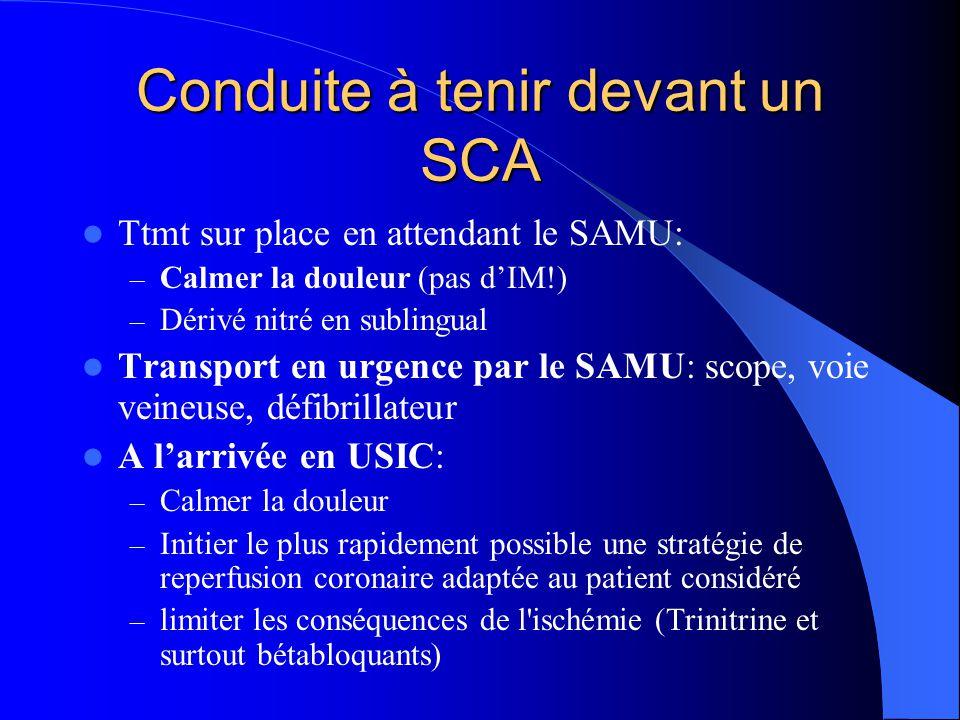 Conduite à tenir devant un SCA Ttmt sur place en attendant le SAMU: – Calmer la douleur (pas d'IM!) – Dérivé nitré en sublingual Transport en urgence