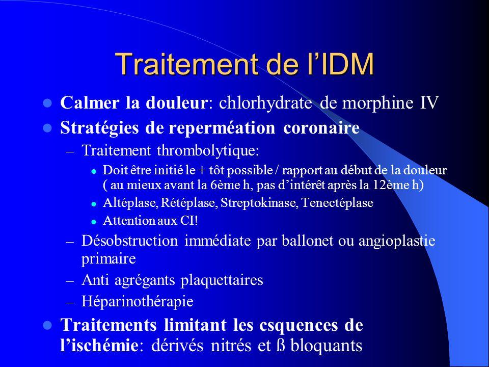 Traitement de l'IDM Calmer la douleur: chlorhydrate de morphine IV Stratégies de reperméation coronaire – Traitement thrombolytique: Doit être initié