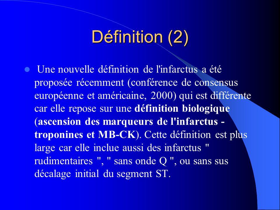 Définition (2) Une nouvelle définition de l'infarctus a été proposée récemment (conférence de consensus européenne et américaine, 2000) qui est différ