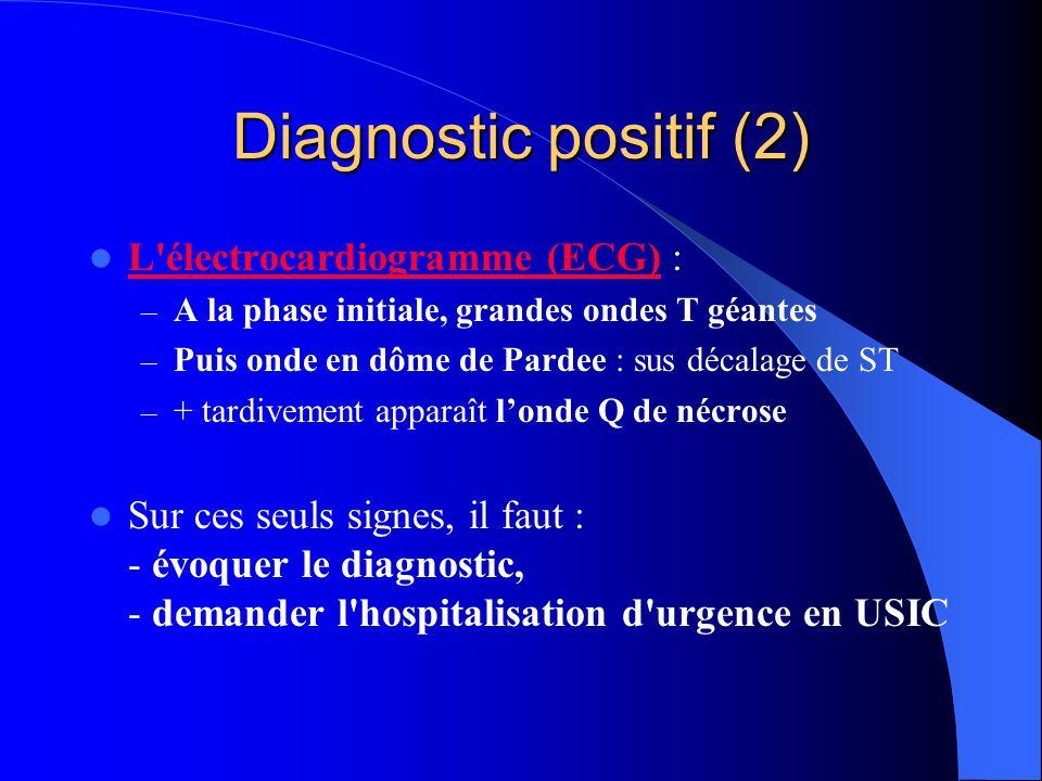 Diagnostic positif (2) L'électrocardiogramme (ECG) : L'électrocardiogramme (ECG) – A la phase initiale, grandes ondes T géantes – Puis onde en dôme de