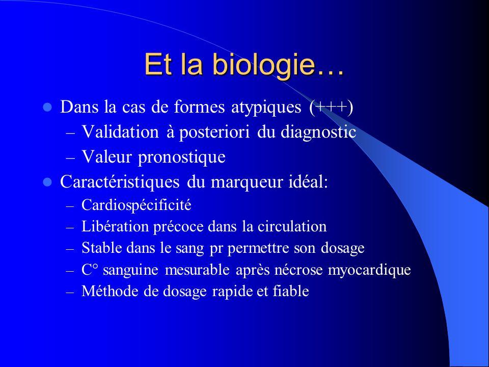 MyoglobineTnITnT Sensibilité+++++ Précocité++++/- Fenêtre diagnostique EtroiteLarge Cardiospécificité0+++ Myoglobine/troponines: caractéristiques analytiques comparées