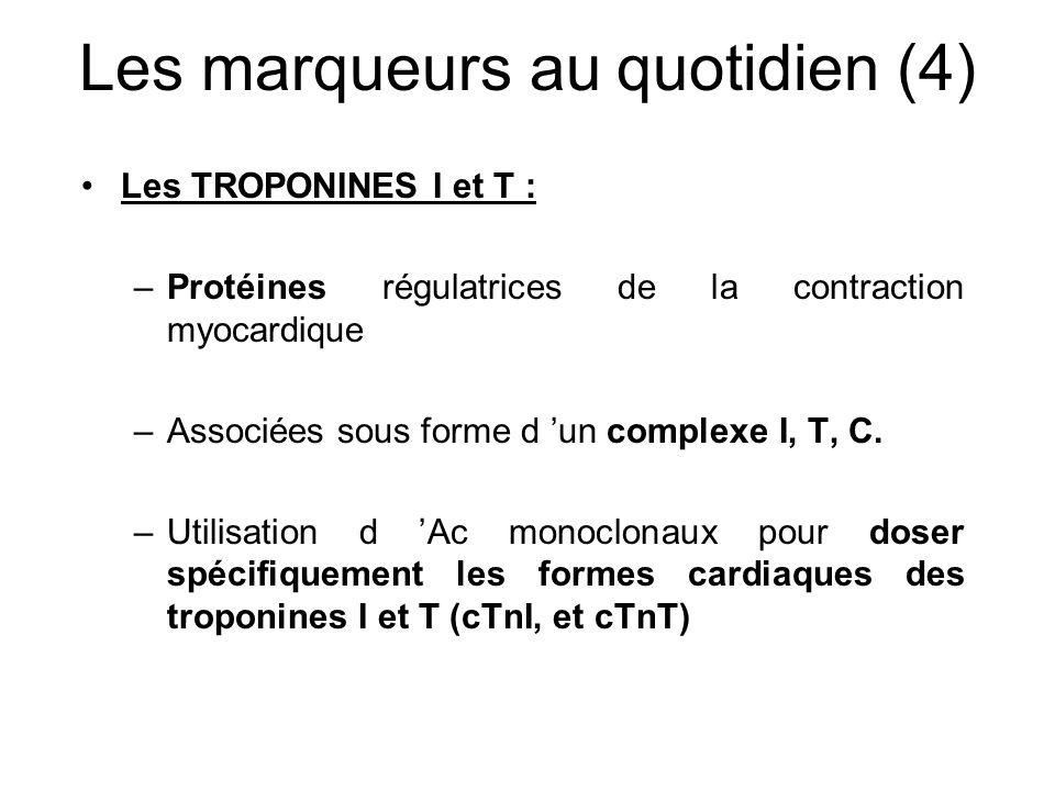 Les marqueurs au quotidien (4) Les TROPONINES I et T : –Protéines régulatrices de la contraction myocardique –Associées sous forme d 'un complexe I, T