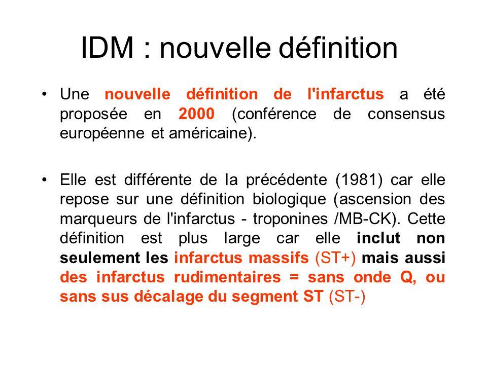 IDM : nouvelle définition Une nouvelle définition de l'infarctus a été proposée en 2000 (conférence de consensus européenne et américaine). Elle est d