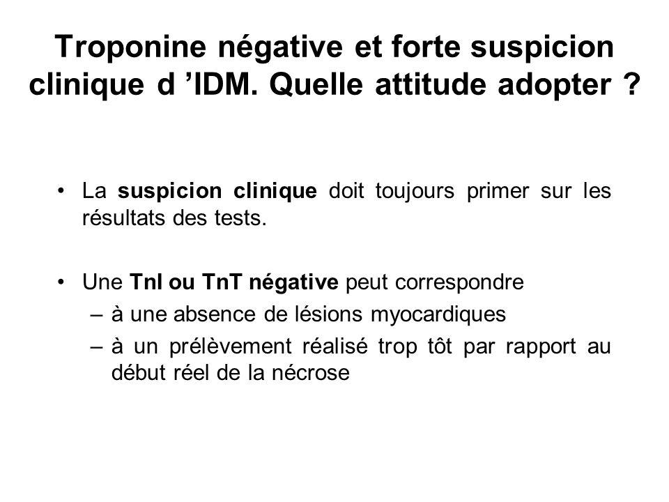 Troponine négative et forte suspicion clinique d 'IDM. Quelle attitude adopter ? La suspicion clinique doit toujours primer sur les résultats des test