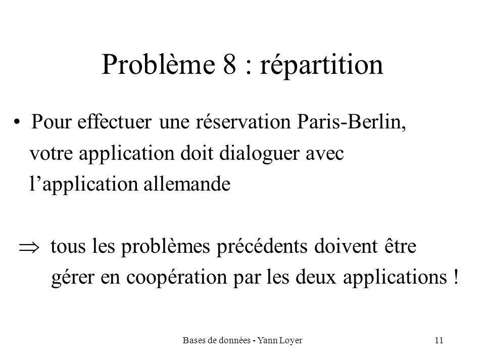 Bases de données - Yann Loyer11 Problème 8 : répartition Pour effectuer une réservation Paris-Berlin, votre application doit dialoguer avec l'application allemande  tous les problèmes précédents doivent être gérer en coopération par les deux applications !