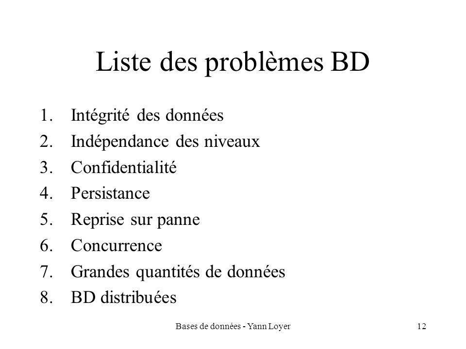 Bases de données - Yann Loyer12 Liste des problèmes BD 1.Intégrité des données 2.Indépendance des niveaux 3.Confidentialité 4.Persistance 5.Reprise sur panne 6.Concurrence 7.Grandes quantités de données 8.BD distribuées