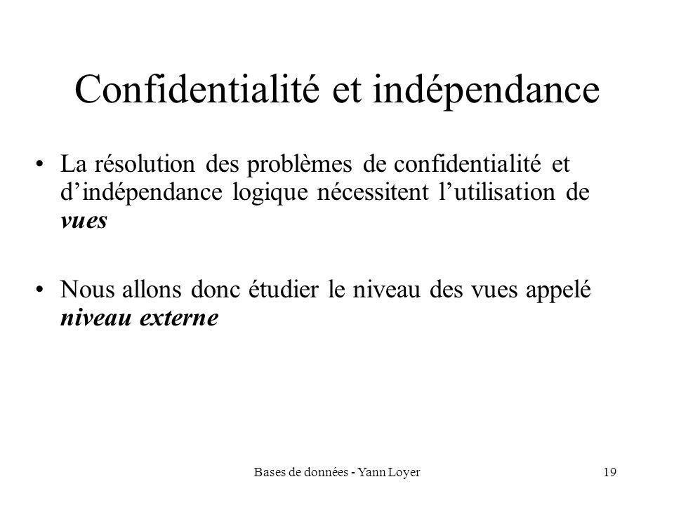 Bases de données - Yann Loyer19 Confidentialité et indépendance La résolution des problèmes de confidentialité et d'indépendance logique nécessitent l'utilisation de vues Nous allons donc étudier le niveau des vues appelé niveau externe