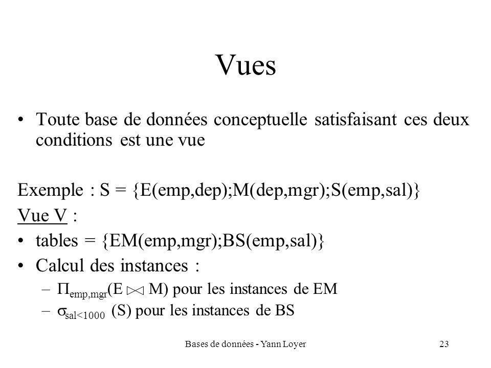 Bases de données - Yann Loyer23 Vues Toute base de données conceptuelle satisfaisant ces deux conditions est une vue Exemple : S = {E(emp,dep);M(dep,mgr);S(emp,sal)} Vue V : tables = {EM(emp,mgr);BS(emp,sal)} Calcul des instances : –  emp,mgr (E M) pour les instances de EM –  sal<1000 (S) pour les instances de BS