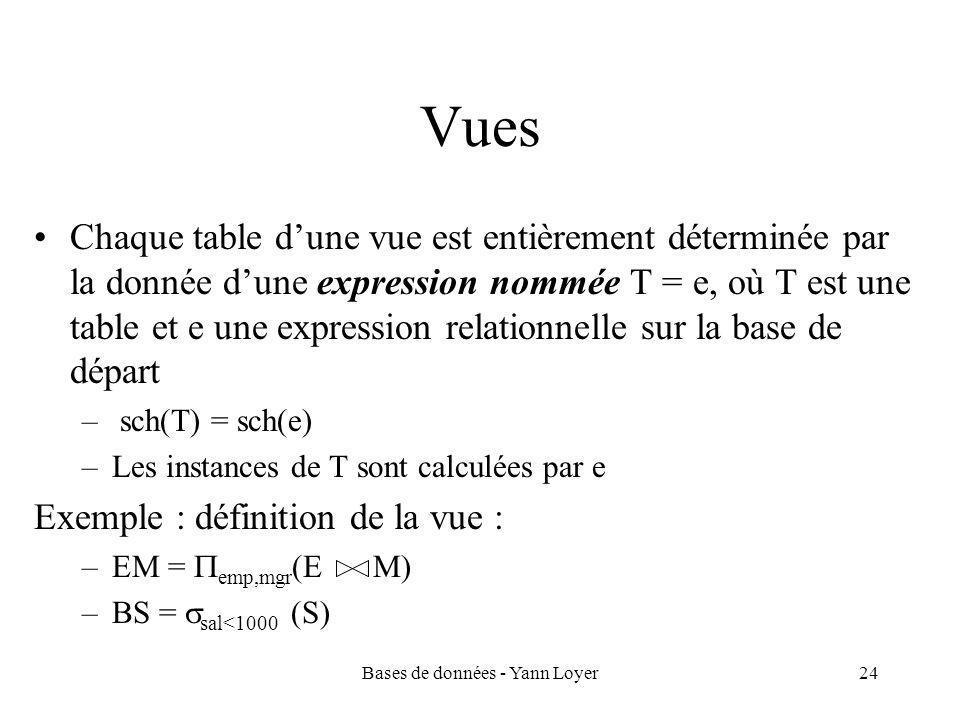 Bases de données - Yann Loyer24 Vues Chaque table d'une vue est entièrement déterminée par la donnée d'une expression nommée T = e, où T est une table et e une expression relationnelle sur la base de départ – sch(T) = sch(e) –Les instances de T sont calculées par e Exemple : définition de la vue : –EM =  emp,mgr (E M) –BS =  sal<1000 (S)