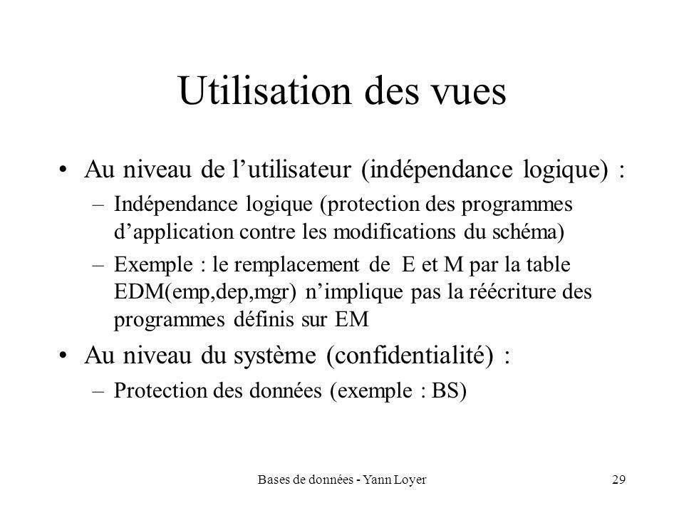 Bases de données - Yann Loyer29 Utilisation des vues Au niveau de l'utilisateur (indépendance logique) : –Indépendance logique (protection des programmes d'application contre les modifications du schéma) –Exemple : le remplacement de E et M par la table EDM(emp,dep,mgr) n'implique pas la réécriture des programmes définis sur EM Au niveau du système (confidentialité) : –Protection des données (exemple : BS)