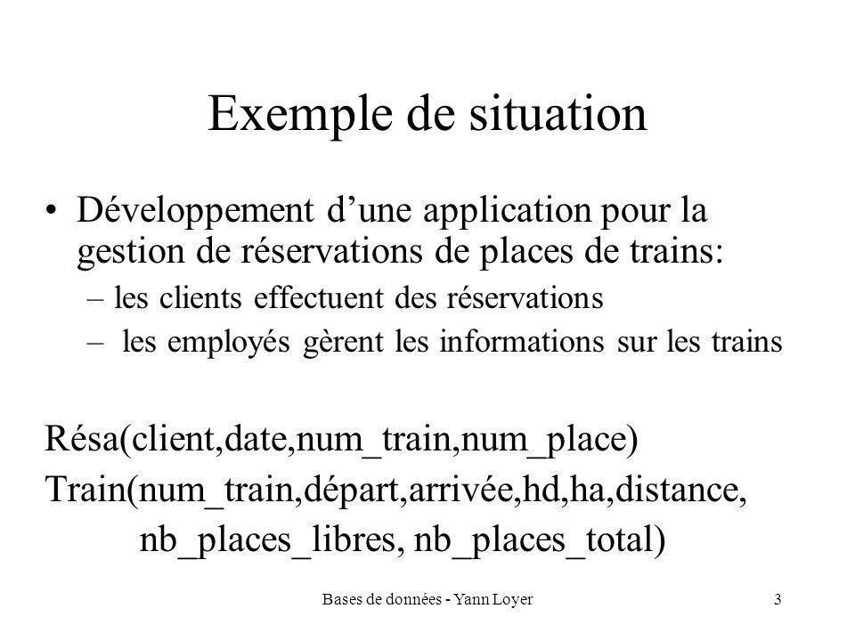 Bases de données - Yann Loyer3 Exemple de situation Développement d'une application pour la gestion de réservations de places de trains: –les clients effectuent des réservations – les employés gèrent les informations sur les trains Résa(client,date,num_train,num_place) Train(num_train,départ,arrivée,hd,ha,distance, nb_places_libres, nb_places_total)